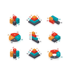 isometric diagrams and charts for infographics vector image