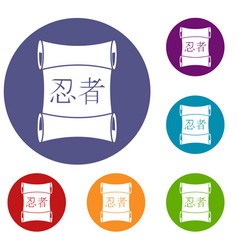 Japanese traditional scrol icons set vector