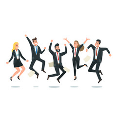 Jumping business team office workers jump happy vector