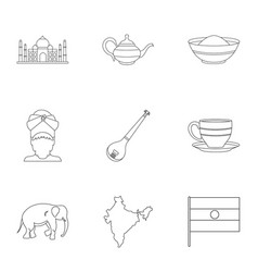 Landmarks of india icon set outline style vector