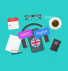 learn english online on mobile phone or study vector image