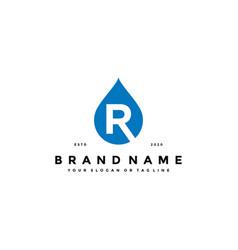 Letter r water drop logo design vector