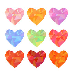 low poly hearts set isolated on white background vector image