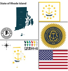 Map of Rhode Island with seal vector image