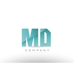 Md m d alphabet letter green logo icon design vector