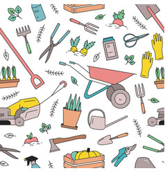 modern seamless pattern with gardening tools vector image