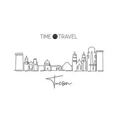 One single line drawing tucson city skyline vector