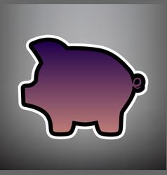 pig money bank sign violet gradient icon vector image
