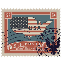 postage stamp with map of usa in colors of flag vector image