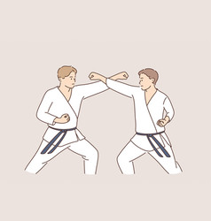 professional karate sport fighters concept vector image