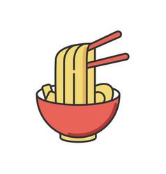 Ramen rgb color icon instant noodles in bowl vector