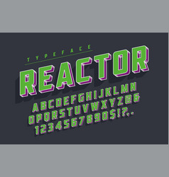 Reactor retro display font popart design alphabet vector