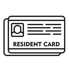 Resident card icon outline style vector