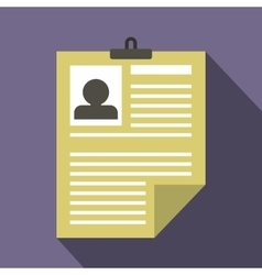 Resume icon in flat style vector image