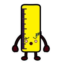 Ruler sleep school supplies kawaii icon imag vector