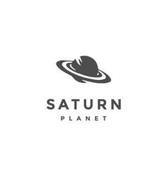 Saturn planet science logo design vector