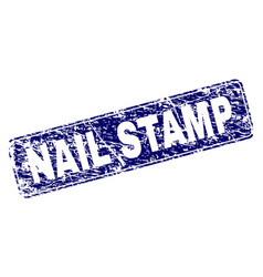 Scratched nail stamp framed rounded rectangle vector