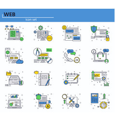 set of web development and office icons in vector image