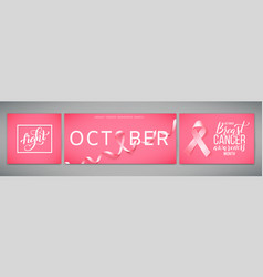 Set posters for world breast cancer awareness vector