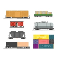 set train for delivery cargo vector image