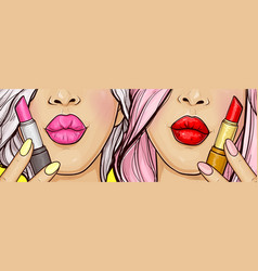sexy women with lips makeup and lipstick vector image