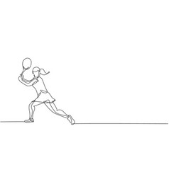 single continuous line drawing young agile vector image