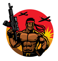 soldier in muscular body mascot vector image