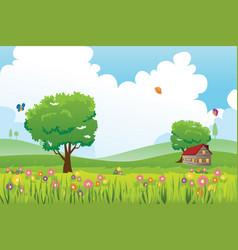 Spring season nature landscape vector