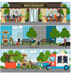 street food and drink establishments flat vector image