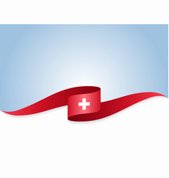 Swiss flag wavy abstract background vector
