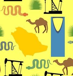 Symbols of Saudi Arabia seamless pattern Desert vector image