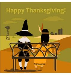 Thanksgiving card with dressed up kids vector image