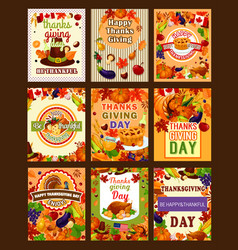 Thanksgiving greeting poters or cards vector