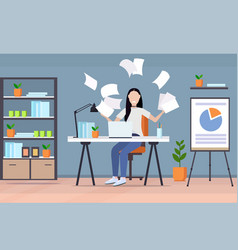 Tired businesswoman throwing papers unsatisfied vector