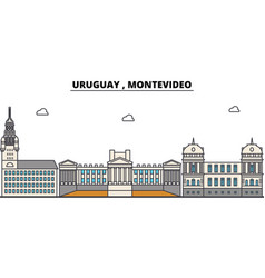 Uruguay montevideo outline city skyline linear vector