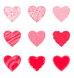 Valentine hearts with patterns vector