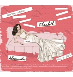 Vintage poster with beautiful wedding dress vector image
