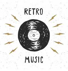 Vinyl record vintage label hand drawn sketch vector