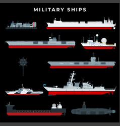 Warship set with boat vessel craft battleship vector