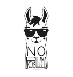 With llama in a sunglasses and lettering quote vector