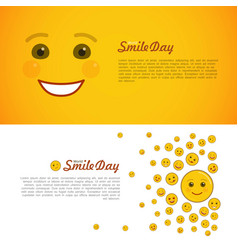 world smile day horizontal flyers set vector image