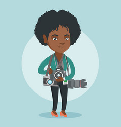 Young african photographer with photo cameras vector
