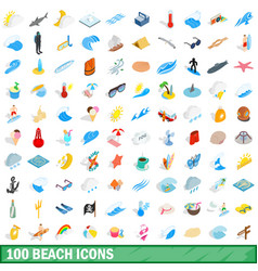 100 beach icons set isometric 3d style vector image