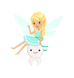 beautiful sweet blonde tooth fairy girl sitting on vector image