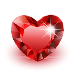 Diamond red heart vector image