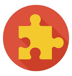 Flat Game Puzzle Circle Icon with Long Shadow vector image