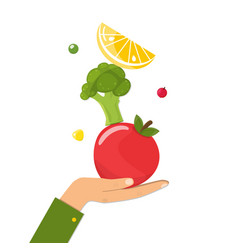 healthy diet concept natural food on female hand vector image