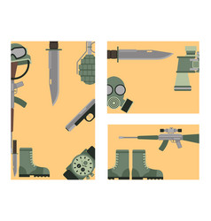 military weapon guns symbols armor cards forces vector image