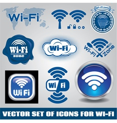 set of different icons for technology wifi vector image