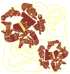 Set of mayan warriors vector image vector image